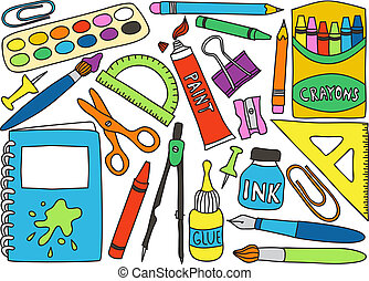 Illustration of school or office supplies - drawings on white background