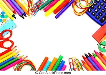 School supplies frame - Colorful frame of school supplies...