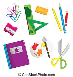 A vector illustration of school supplies icons