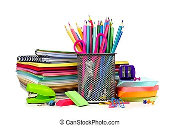 School supplies in pile isolated on a white background
