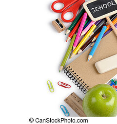 School supplies isolated over white with copyspace