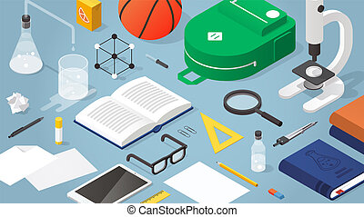 Vector isometric school supplies illustration. Layout of school stationery, books, backpack, basketball, papers, glasses, microscope and electronic devices. School subjects and activities concept.