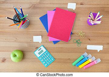 School supplies on the desk