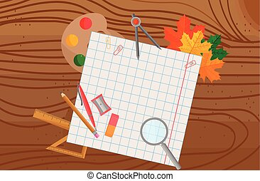 School supplies on wooden background Vector