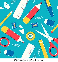 School supplies or office tools seamless pattern