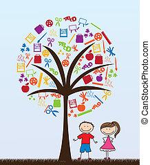 pair of children with school supplies tree vector illustration