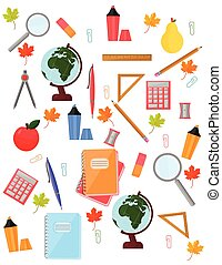 School supplies pattern Vector background. Back to education