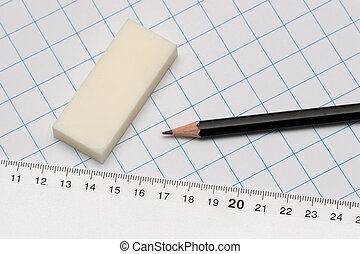 school supplies - pencil, paper, ruler and eraser
