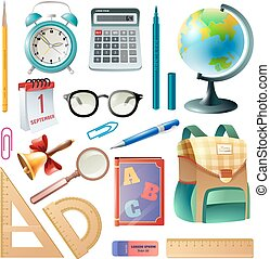 School Supplies Realistic Icons Collection - Back to school...