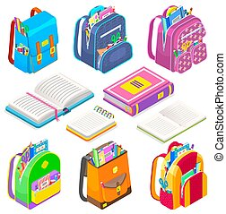 School Supplies Satchels and Books Bags Set Icon