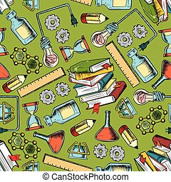 School supplies seamless pattern background