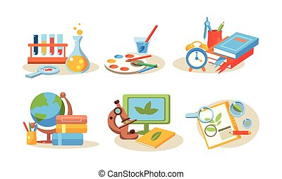 School supplies set, educational accessories, back to school concept vector Illustration on a white background