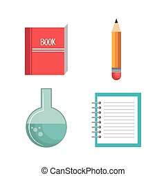 school supplies set icons