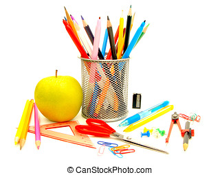 School supplies - Colorful collection of various school...