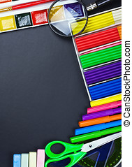 school supplies to the chalkboard