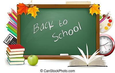 school., supplies., vector., groen rug, bureau, school