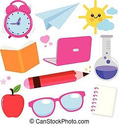 School supplies. Vector illustration