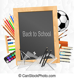 School supplies with blackboard on crumpled paper background