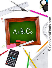 School supplies with small blackboard.