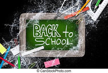School supplies with small blackboard.