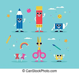 School supply funny character set for children