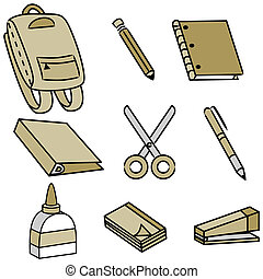 School Supply Icons - An image of school supply icons.