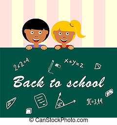 school table draw with children vector illustration