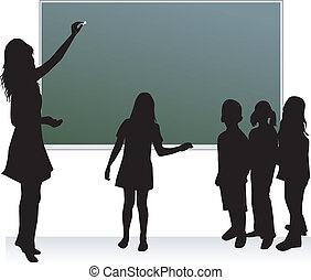 School table & teacher & childrens