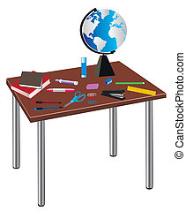 school table - vector table with school or office supplies