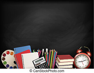 school., tableau, supplies., vector., dos, école