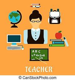 School teacher profession flat concept