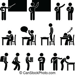 A set of human figure and pictogram showing scenarios in a school.