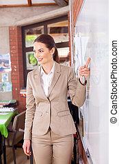 school teacher teaching in classroom