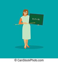 School teacher with chalkboard vector illustration in flat style design