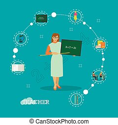 School teacher with chalkboard vector illustration in flat style design