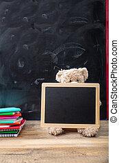 school., teddy, legno, lavagna, cornice, vuoto, indietro, orso, scrivania