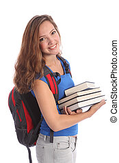 School teenage student girl with education books - Study...