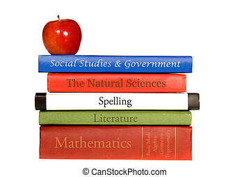 School text books - A set of old school books shown with a...