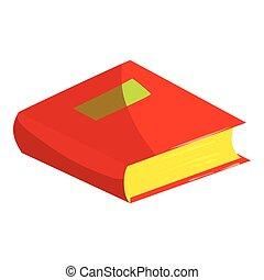 School textbook icon, cartoon style