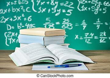 school, textbooks, op, een, bureau
