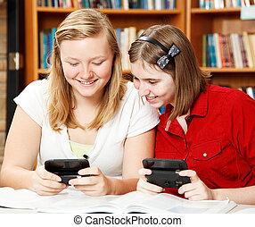 school, texting