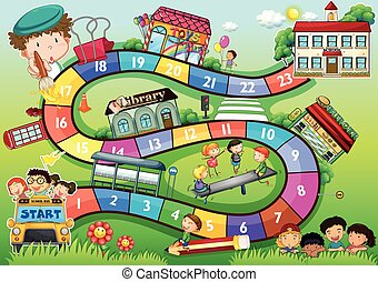 School theme board game - Gameboard with a school kids theme