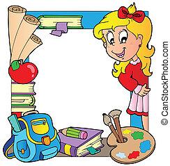 School theme frame 6 - vector illustration.