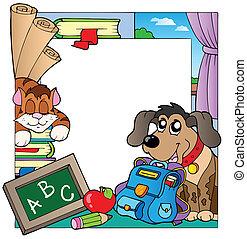 School theme frame 7 - vector illustration.