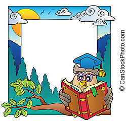 School theme frame 8 - vector illustration.
