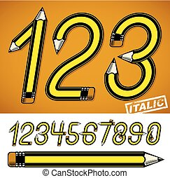School theme, pencils design numbers, best for use in logotype design for drawing art class.