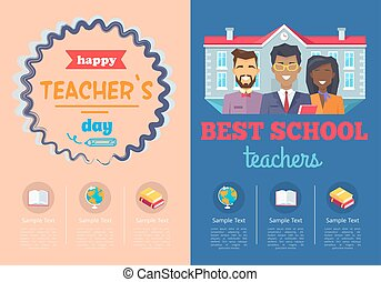 School Theme Set of Posters Vector Illustration - School...
