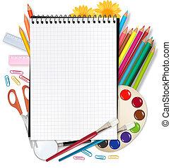 school., tilbage, skole, notepad