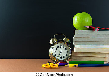 School time - Back to school theme using school supplies and...