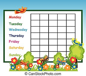 school time table background vector illustration.